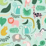 Vector little jungle animal seamless repeat background pattern. Surface pattern design stock illustration
