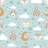 Vector little star repeat background. sleepy animals and stars seamless pattern stock illustration