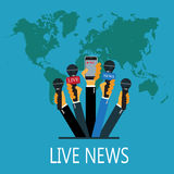 Vector live report concept, live news, hands of journalists with microphones and recording cellphone Stock Images