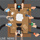 Vector live report concept, live news, hands of journalists with microphones and tape recorders Stock Photos
