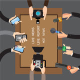 Vector live report concept, live news, hands of journalists with microphones and tape recorders Royalty Free Stock Images
