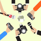 Vector live report concept. Vector live report concept, live news, hands of journalists with microphones and tape recorders Stock Photo