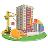 Vector Living Block Construction Stock Images