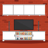 Vector of Living room with brick wall Royalty Free Stock Images