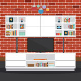 Vector of Living room with brick wall Stock Photo