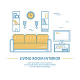 Vector living room interior design brochure cover in line style. Flyer home decoration. Business presentation Stock Photography