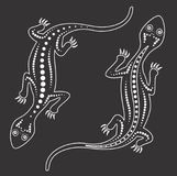 Vector lizard. Aboriginal art lizard, Black and white lizard art. Vector lizard. Aboriginal art lizard illustration, Black and white lizard art royalty free illustration