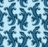 Vector lizards wrapping paper, seamless pattern with reptiles, a Stock Photo