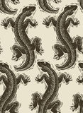 Vector lizards wrapping paper, seamless pattern with reptiles, a Royalty Free Stock Image