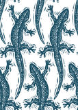 Vector lizards wrapping paper, seamless pattern with reptiles, a Stock Photos