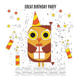 Vector lLine cartoon owl at a party. Vector lLine art cartoon owl with a gift at a party with fireworks. Cute background. Bright illustration, can be used as Stock Photography