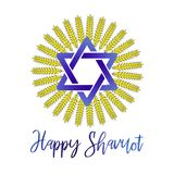 Vector llustration for Jewish holiday of Savuot.Wheat logo white background. Concept of Judaic holiday Shavuot.Happy. Vector llustration for Jewish holiday of Royalty Free Stock Photo