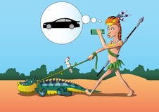 Vector llustration Sexy young man in dreams of a car and his animal iguana. Eps filey. Here is a vector illustration. It shows an sexy young man, who dreams of Royalty Free Stock Photo