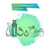 Vector lo schizzo artistico del profumo per le donne isolate su fondo bianco Fotografia Stock