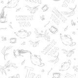 Vector lo schizzo senza cuciture del modello degli oggetti panino-lotta ed iscrizione su fondo bianco Il tè dal bollitore ha vers Fotografia Stock Libera da Diritti