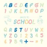 Vector lo stile schizzato l'alfabeto dell'illustrazione, di nuovo alla scuola Fotografie Stock
