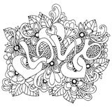 Vector lo zentangl dell'illustrazione, l'amore di parola in fiori Disegno di scarabocchio Anti sforzo del libro da colorare per g illustrazione vettoriale