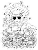 Vector lo zentangl dell'illustrazione, ritratto di scarabocchio di una donna illustrazione di stock