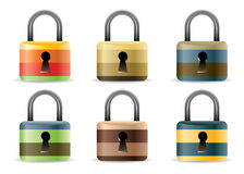 Vector lock icon set. Isolated on white Royalty Free Stock Photo