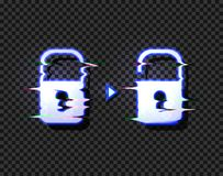 Vector Lock and Unlock Glowing Icons with Glitch Distortion Effect Isolated, Hacking Concept Illustration. vector illustration