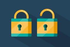 Vector locked and unlocked padlocks. Flat style illustration Royalty Free Stock Image