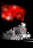 Vector locomotive with soldier and red star. Communistic illustration. On the black background Stock Photo