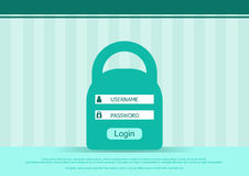 Vector login box form, interface page - username and password. Flat background. Stock Photo