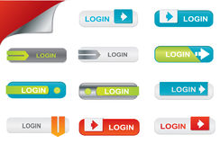 Vector login buttons, website elements Stock Images