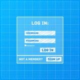 Vector login form on blueprint background Stock Photo