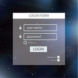 Vector login form template. Modern neutral colors and square blu Royalty Free Stock Photo