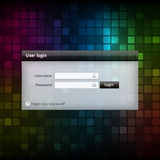Vector login form ui element on colorful background Royalty Free Stock Photo
