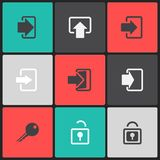 Vector login web icon set on a color square Stock Photo