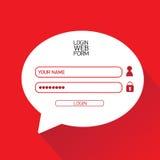 Vector Login website template flat design. Royalty Free Stock Photo