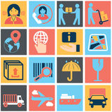Vector logistic, delivery and shipping icon set Stock Images