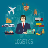 Vector logistics manager agent concept. Delivery cargo vector service illustration Stock Photos