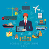 Vector logistics manager agent concept. Delivery cargo vector service illustration Stock Images