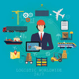 Vector logistics manager agent concept. Delivery cargo vector service illustration Royalty Free Stock Photo