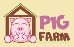 Vector Logo of сute funny smiling cartoon pig sitting in a barn. Modern humorous logo template with image of the farm animal. stock illustration