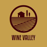 Vector logo with an abstract image of the wine valley Stock Photo