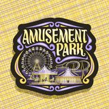 Vector logo for Amusement Park. Dark sign with ferris wheel, cartoon roller coaster, merry go round carousel with pony and circus big top, original brush vector illustration