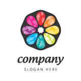Sign colored petals. Vector logo appelsin color wheel Royalty Free Stock Photos