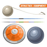 Vector logo for athletics equipment. Consisting of abstract metal discus throw, shot put, throwing hammer, javelin. Track and field equipment for atletica Royalty Free Stock Photos