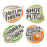 Vector logo for athletics equipment. Consisting of abstract metal discus throw, shot put, throwing hammer, javelin. Track and field equipment for atletica Stock Image