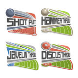 Vector logo for Athletics Field. Consisting of abstract discus throw, shot put, throwing hammer, javelin. Track and field stadium equipment for atletica Stock Photography