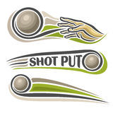 Vector logo for athletics shot put. Consisting of arm, hand throw sphere flying on trajectory, 3 sports metal throwing balls. Track and field equipment for Royalty Free Stock Photos