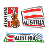Vector logo for Austria. Consisting of 3  illustrations: violin, fiddle on background of national state flag, symbol of Austria and austrian flag beside Alps Stock Photos