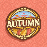 Vector logo for Autumn season. Oval icon with falling drops of rain on red abstract background, lettering title - autumn, clip art sign with autumn leaves on Royalty Free Illustration