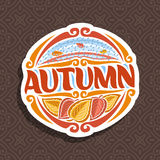 Vector logo for Autumn season. Round icon with falling drops of rain on brown abstract background, lettering title - autumn, clipart sign with autumn leaves on Royalty Free Illustration