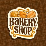 Vector logo for Bakery Shop. Whole loaf of cereal bread, fresh french croissant, german krapfen pastry, original brush typeface for title bakery shop, cut stock illustration