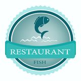 Vector logo banner for advertising restaurant name blue. Turquoise color with fish and waves and text inscription on white background Royalty Free Stock Photos
